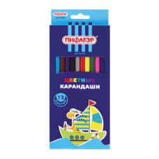 Карандаши цветные ПИФАГОР Жираф, пластиковые, классические заточенные, 12 цветов