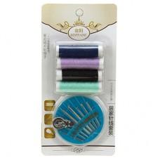 Набор для шитья 6 предметов: цветные нитки - 4 штуки; иголки; нитковдеватель (в блистере)