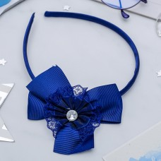 Ободок для волос Школьница, бант и страз, синий, 1 см