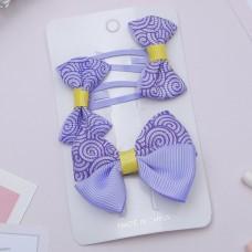 Набор для волос Бантик, завиток фиолетовый (2 невидимки, 1 зажим)