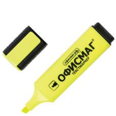 Текстмаркер классический Офисмаг, скошенный наконечник, цвет Лимонный, 1-5 мм