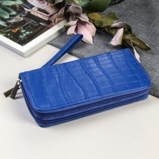 Кошелёк женский с ручкой Рептилия, 2 отдела на молниях, цвет синий