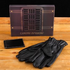 Подарочный набор Самому лучшему (перчатки и зажим для денег) экокожа