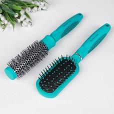 Набор расчёсок 2 предмета: брашинг, расчёска массажная с зеркалом, цвет бирюзовый