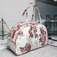 Косметичка-сумочка на молнии Розы, 2 ручки, цвет белый/красный