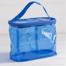 Косметичка-сумка на молнии ПВХ, с ручкой, цвет голубой,  24×12×18 см