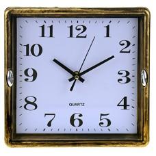 Часы настенные пластмассовые Малибу (цвет бронза), циферблат белый, мягкий ход, 23х23х4 см