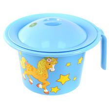Горшок детский пластмассовый Кроха с крышкой, голубой, с рисунком, д22 см, h15 см