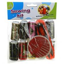 Набор для шитья 12 предметов: цветные нитки - 10 штук; поролка; иголки