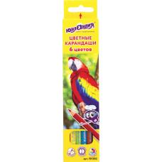 Карандаши цветные ЮНЛАНДИЯ Мир животных, классические заточенные, 6 цветов
