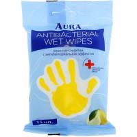 Влажные салфетки антибактериальные Aura (Аура) Лимон, 15 шт