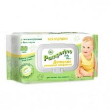 Влажные салфетки для детей Без отдушки Pamperino с крышкой, 80 шт