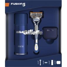 Подарочный набор Gillette (Джилет) Fusion (бритва с 1 сменной кассетой + гель для бритья Ultra Sensitive 75 мл + чехол)