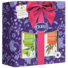 Подарочный набор Duru (Дуру) Nature's Treasures (гель для душа Олива, 250 мл + гель для душа Облепиха, 250 мл + мочалка-шар)