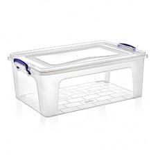 Контейнер для хранения пластмассовый Клиер прозрачный, ручки-клипса, 21 л, 47х32х18 см