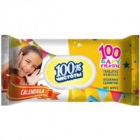 Детские влажные салфетки 100% Чистоты с экстрактом Календулы и витамином Е, 100 шт