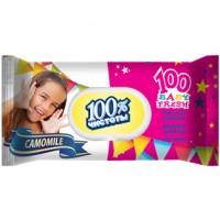 Детские влажные салфетки 100% Чистоты с экстрактом Ромашки, 100 шт