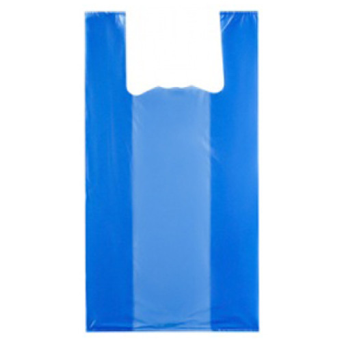 Пакет полиэтиленовый майка синий, 24х44 см