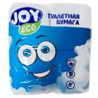 Туалетная бумага 2-слойная JOY Eco (Джой Эко) белая, 4 рулона