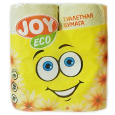 Туалетная бумага 2-слойная JOY Eco (Джой Эко) желтая, 4 рулона