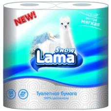 Туалетная бумага 2-слойная LAMA (Лама) белая, 4 рулона