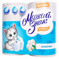Туалетная бумага Мягкий Знак Буквы белая 2-х слойная 4 рулона
