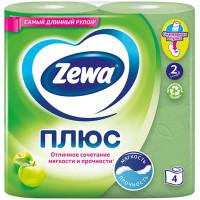 Туалетная бумага Zewa (Зева) Плюс «Яблоко», 2-х слойная, 4 рулона