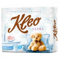 Туалетная бумага Kleo Ultra, трехслойная, цвет: белый, 4 рулона