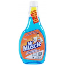 Моющее для стекла Mr. Muscle (Мистер Мускул) со спиртом, сменная бутылка, 500 мл