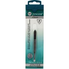 Пинцет прямой Zinger (Зингер), цвет серебряный, zo B-157-S