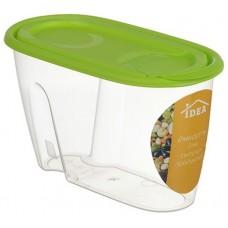Банка для сыпучих продуктов пластмассовая 0,9 л, 9х11х19,5 см, салатовый