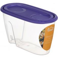 Банка для сыпучих продуктов пластмассовая 0,9 л, 9х11х19,5 см, фиолетовый