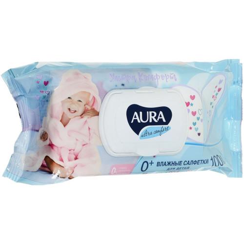 Влажные салфетки для детей АУРА с крышкой, 100 шт