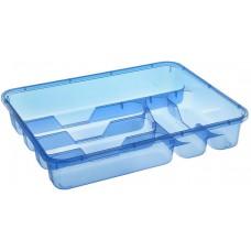 Лоток пластиковый для столовых приборов, цвет белый/голубой, 33х26х4,8 см