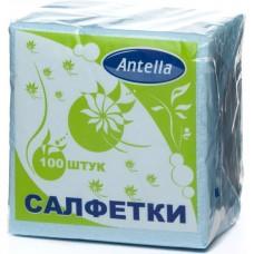 Салфетки бумажные однослойные Antella (Антелла) Голубые, 24х24 см, 100 штук