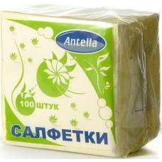 Салфетки бумажные однослойные Antella (Антелла) Желтые, 24х24 см, 100 штук
