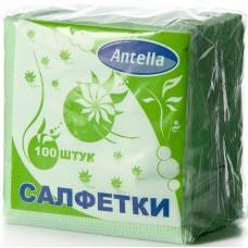 Салфетки бумажные однослойные Antella (Антелла) Зеленые, 24х24 см, 100 штук
