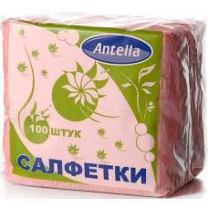 Салфетки бумажные однослойные Antella (Антелла) Розовые, 24х24 см, 100 штук