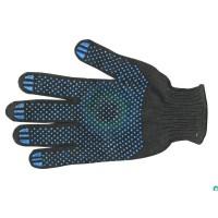 Перчатки рабочие х/б с ПВХ покрытием Точка Черные, 10 класс вязки, 4-х нитка