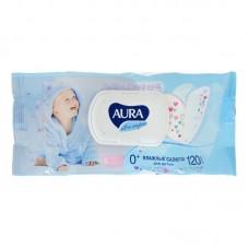 Влажные салфетки для детей с экстрактом алоэ и витамином E АУРА с крышкой, 120 шт