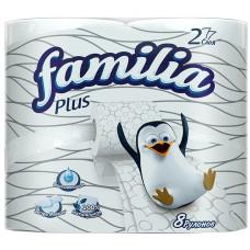 Туалетная бумага Familia Plus 2-слойная 8 рулонов Белая