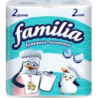 Бумажные полотенца Familia (Фамилия), цвет белый, 2-слойные, 2 рулона