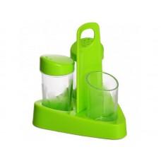 Набор для специй пластиковый Люмици из 3 предметов на подставке, цвет салатовый: солонка, перечница, стакан зубочисток