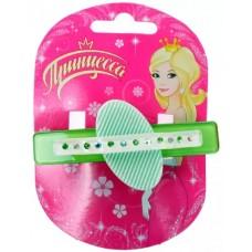 Заколка-зажим для волос Принцесса Улыбка со стразами (зеленая)