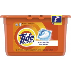 Гель для стирки в растворимых капсулах автомат Tide (Тайд) Альпийская свежесть, 12 шт*24,8 г