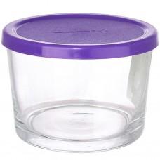 Банка стеклянная Basic фиолетовая крышка, 0,2 л, д8 см, h6 см