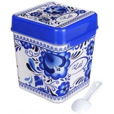 Банка для сыпучих продуктов полиэтиленовая Флорель Чай, 11х11х13,5 см, 1,2 л
