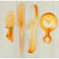 Набор расчёсок, 4 предмета: 2 шт с ручкой, с хвостиком, зеркало (цвет янтарный)