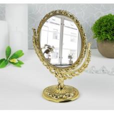 Зеркало настольное, двустороннее, с увеличением (золотое), d=12 см