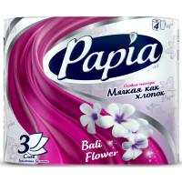 Туалетная бумага Papia (Папия) Балийский цветок, 3-х слойная, 4 рулона